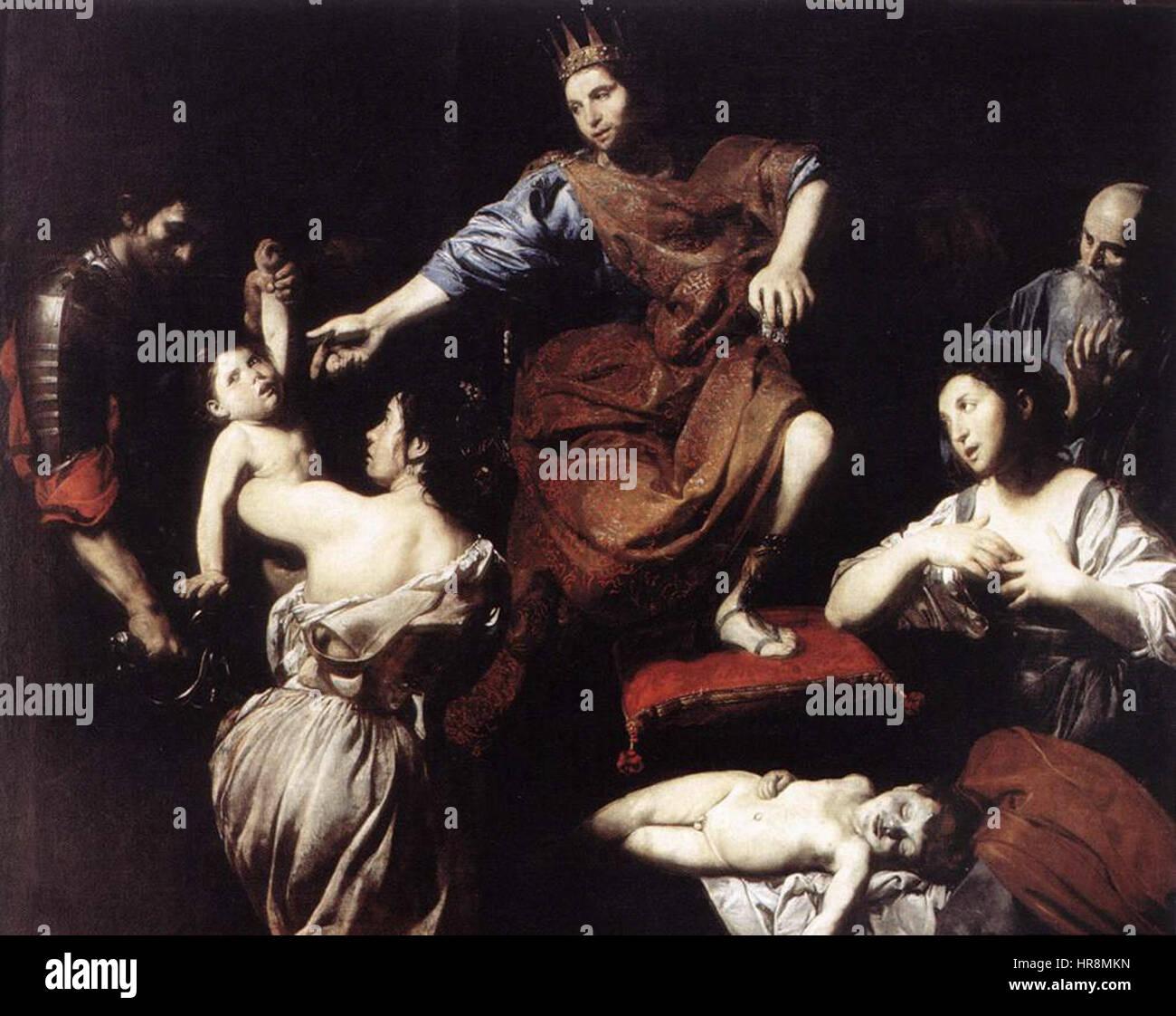 Valentin de Boulogne, Judgment of Solomon 01 - Stock Image
