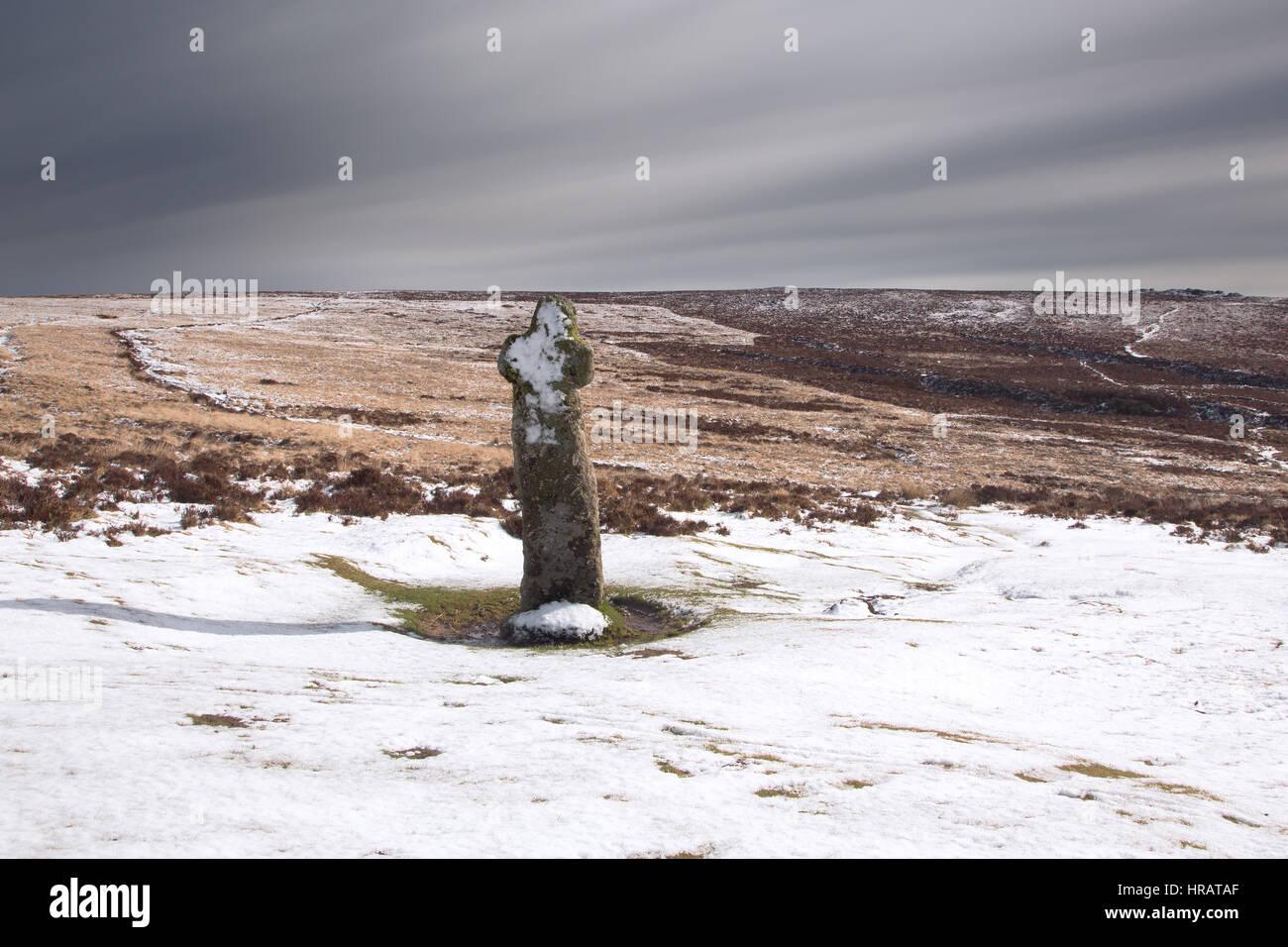 Dartmoor, Devon, UK. 28th Feb, 2017. UK Weather. A light dusting of snow fell on Dartmoor, Devon Credit: Anna Curnow/Alamy - Stock Image