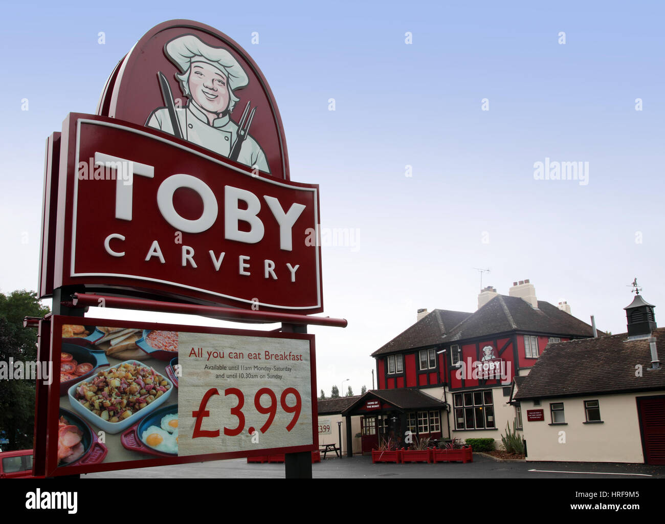Exterior of a Toby Carvery Inn, Norton Canes, Staffordshire, part of the M and B, Mitchell and Butler chain. Stock Photo