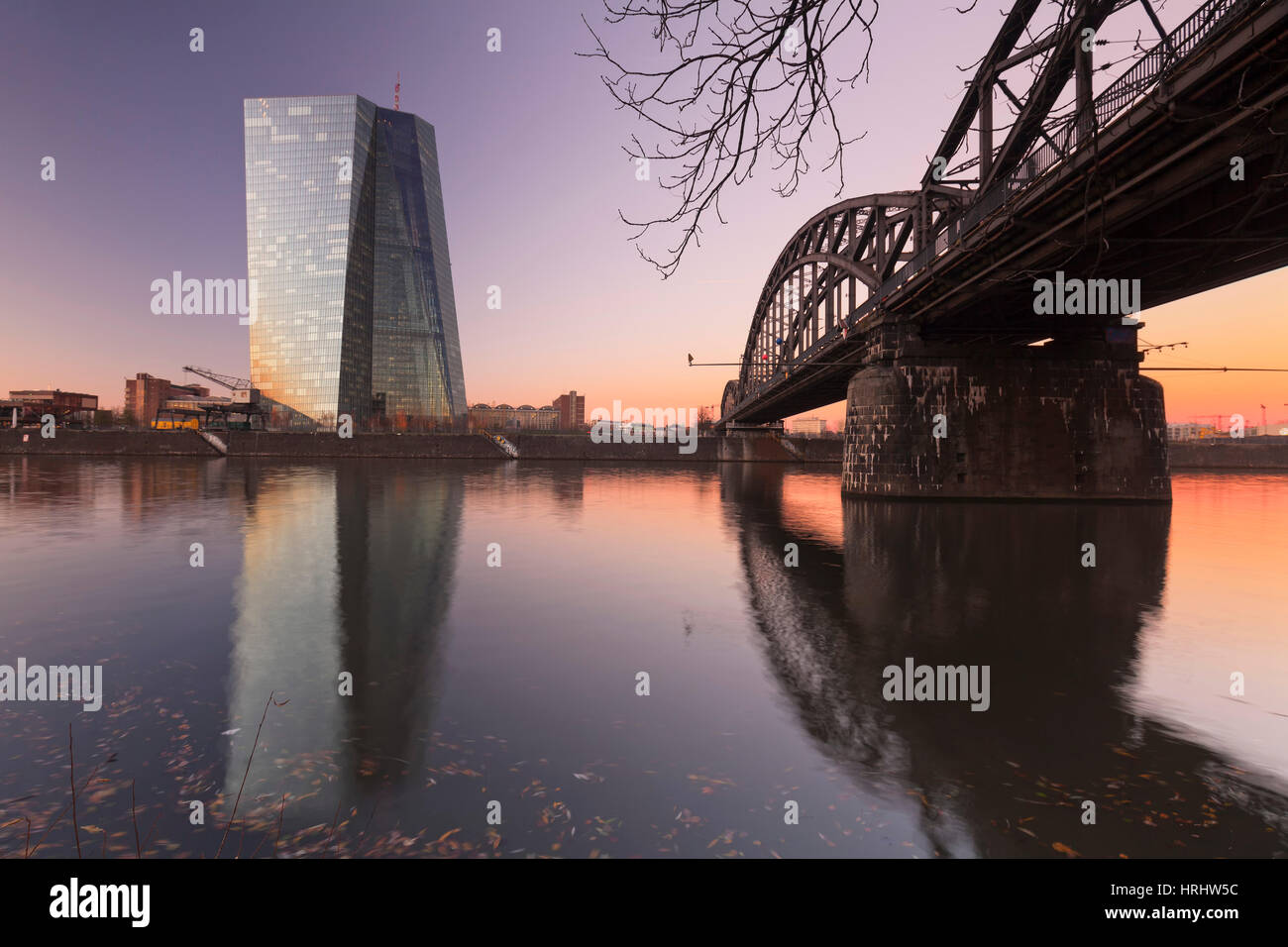 View over Main River to European Central Bank, Frankfurt, Hesse, Germany - Stock Image