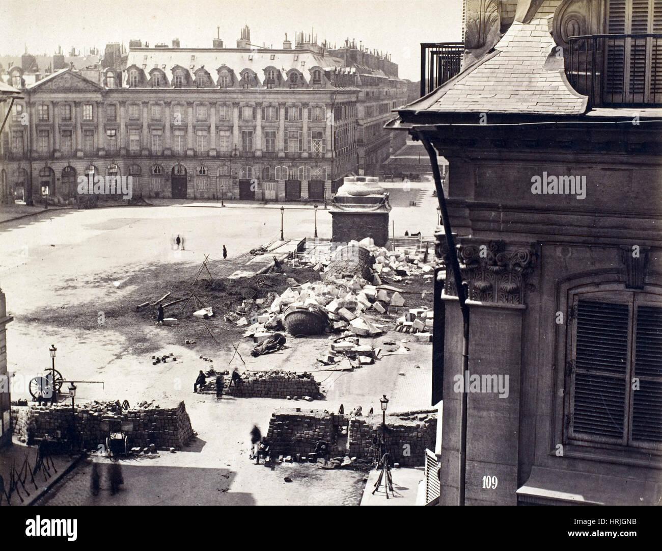 Paris Commune, Destroyed Vend̫me Column, 1871 - Stock Image