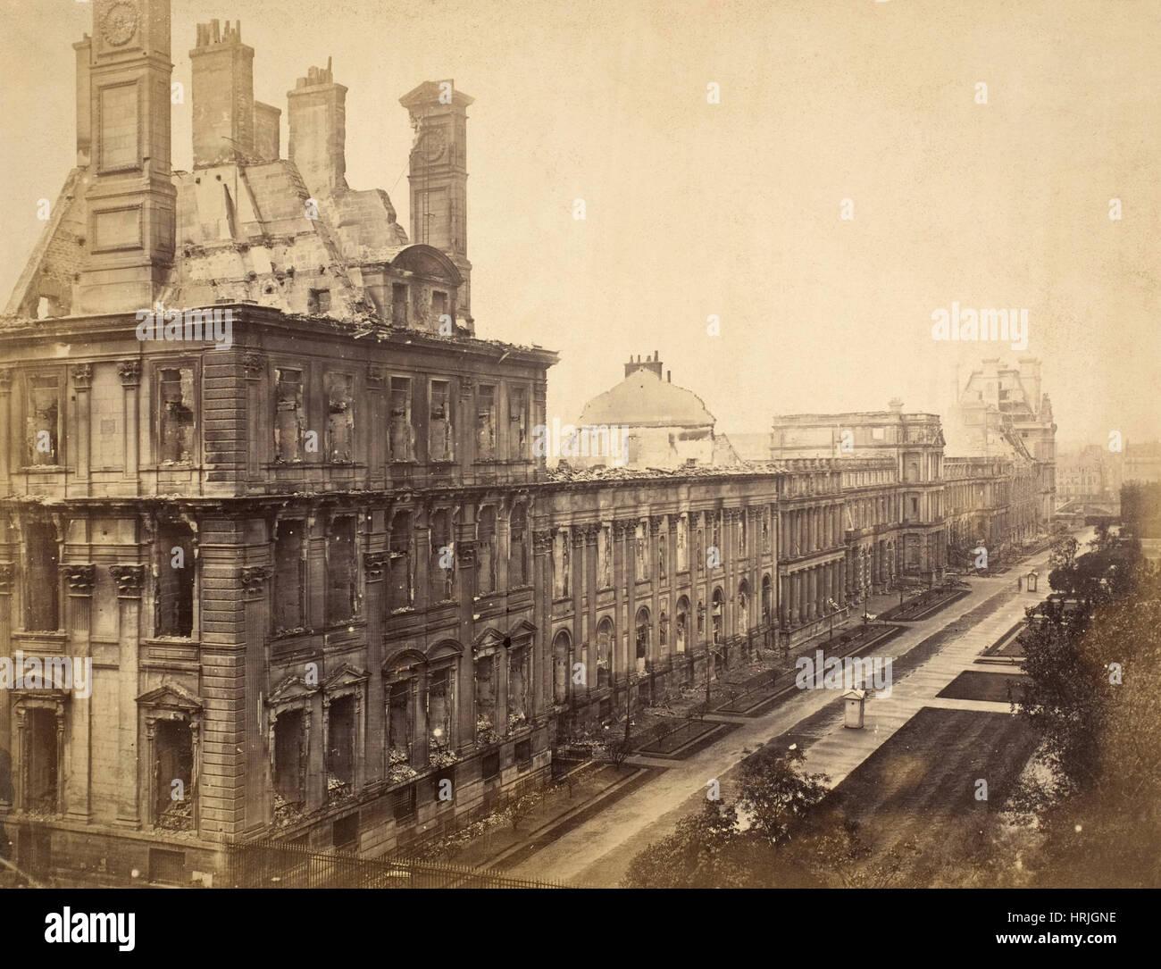 Paris Commune, Destroyed Tuileries Palace, 1871 - Stock Image