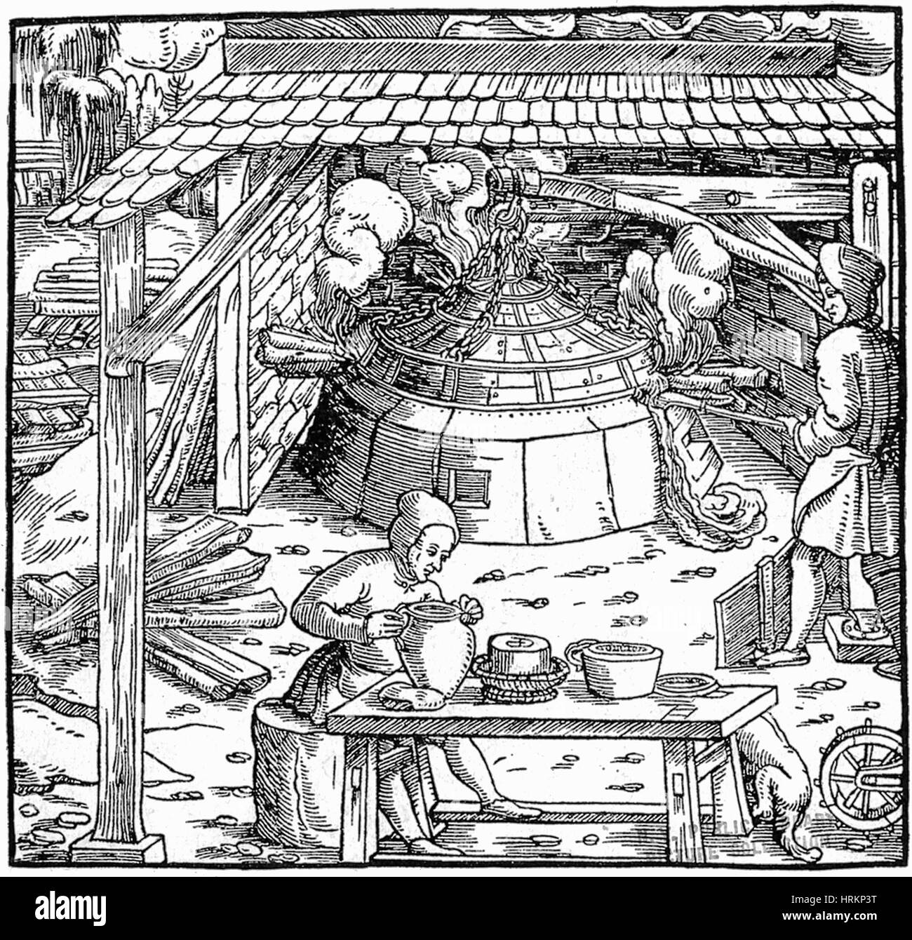 16th Century Silver Mining - Stock Image