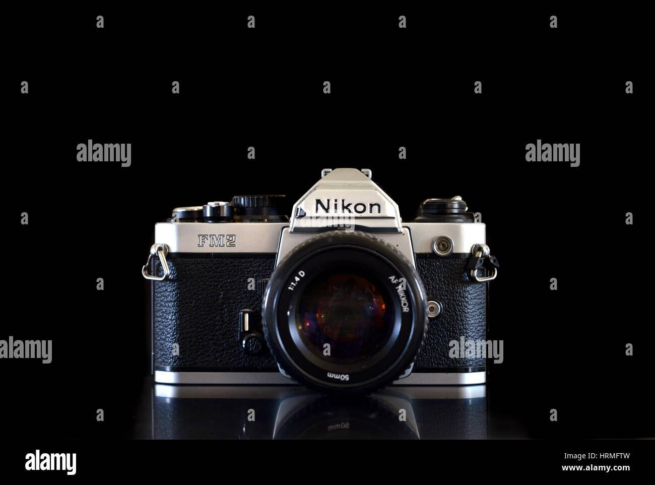 Vintage Nikon film camera FM2 - Stock Image