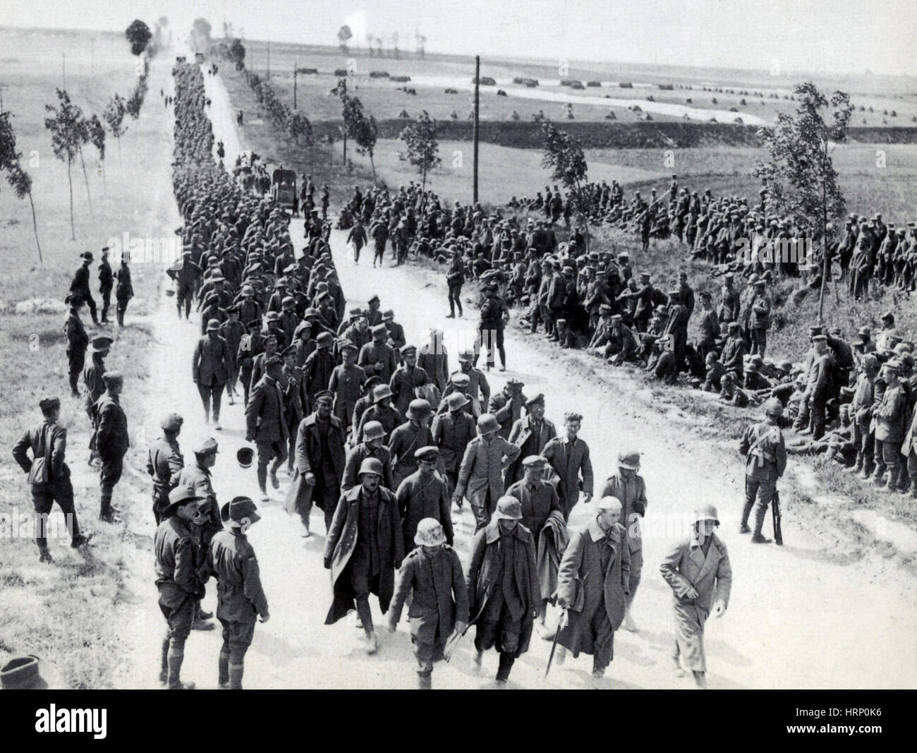 WWI, German POW's, Battle of Amiens, 1918 - Stock Image