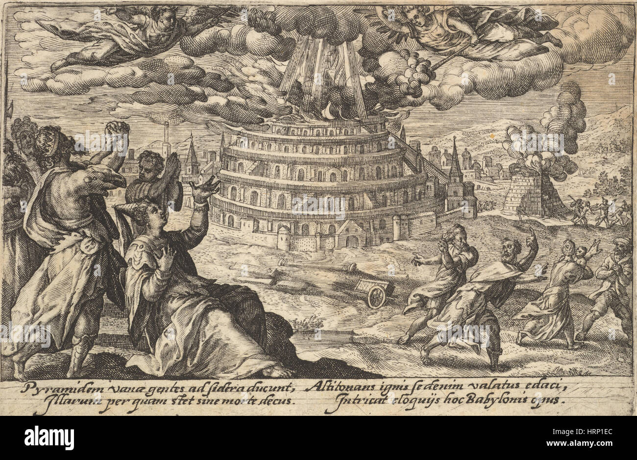 Tower of Babel Destroyed, Genesis Scene - Stock Image