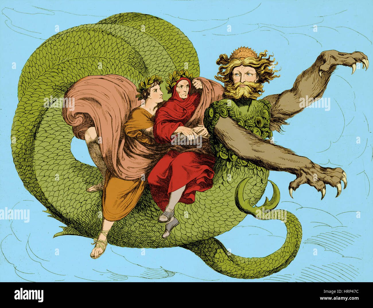 Virgil and Dante Riding Geryon, Divine Comedy - Stock Image