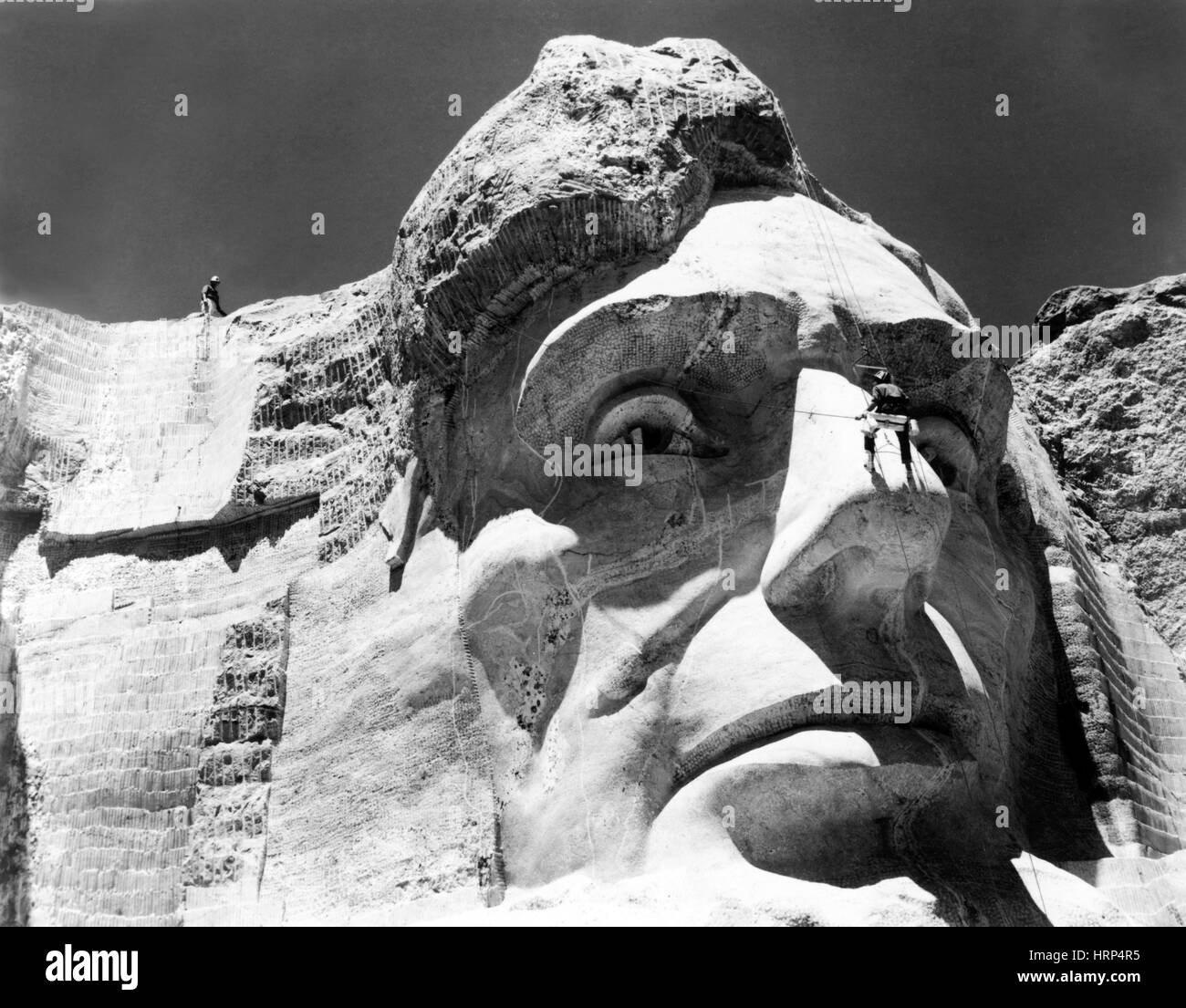 Mount Rushmore Sculpture Maintenance - Stock Image