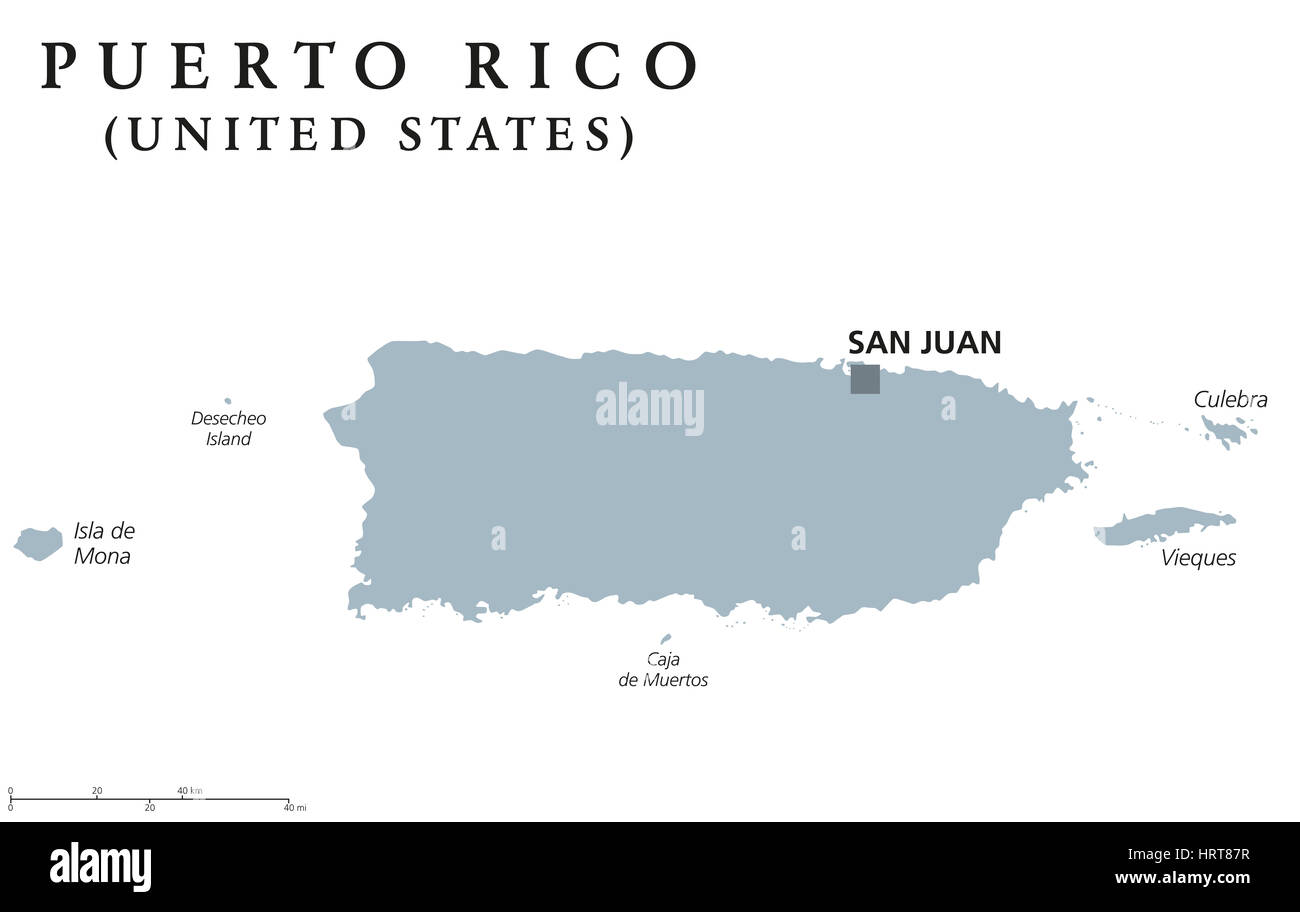 Puerto Rico political map with capital San Juan. Commonwealth and ...