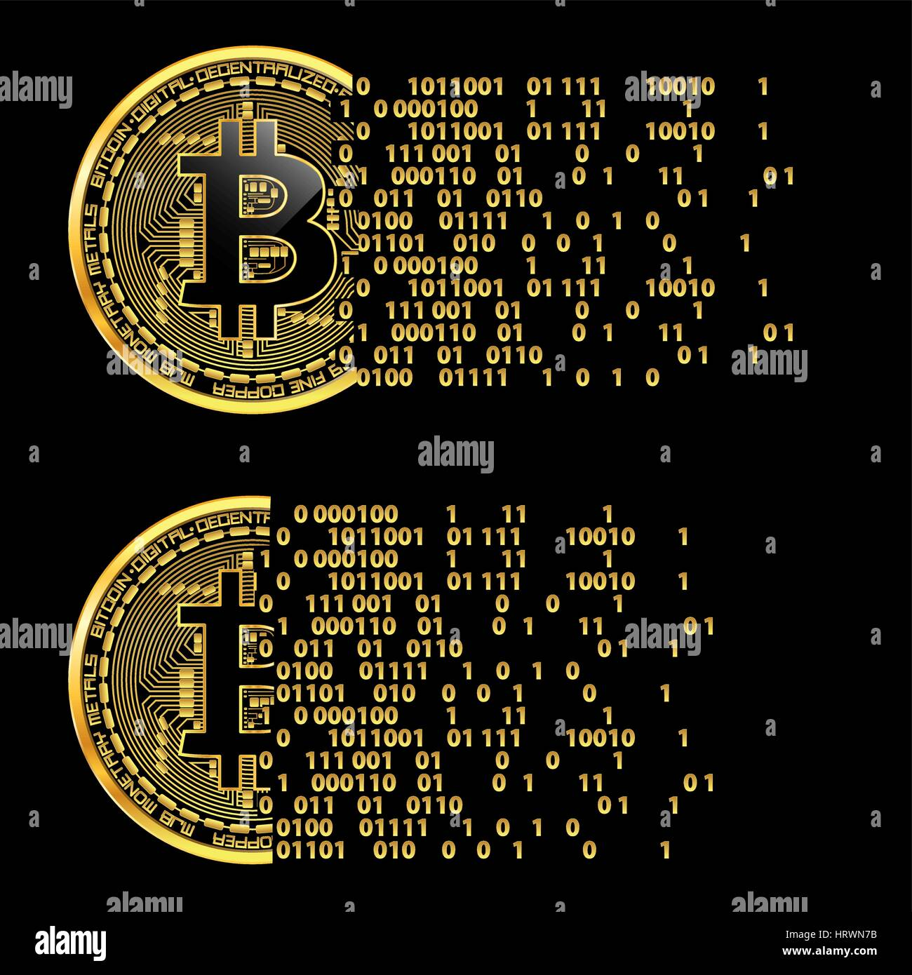 Crypto Currency Golden Coin With Black Lackered Bitcoin Symbol On