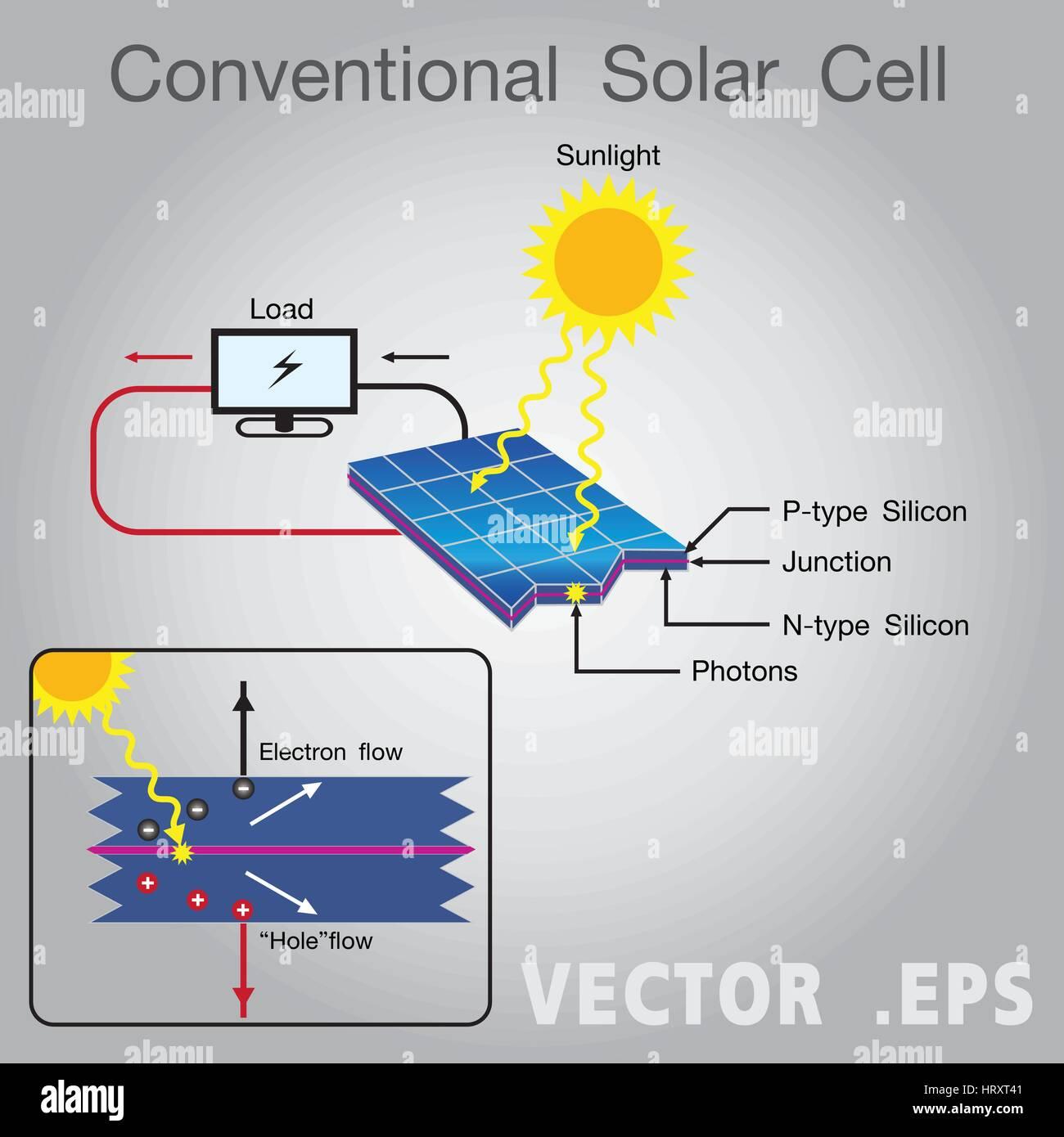 conventional solar cell diagram vector stock vector art rh alamy com solar cell working diagram solar cell diagram pdf