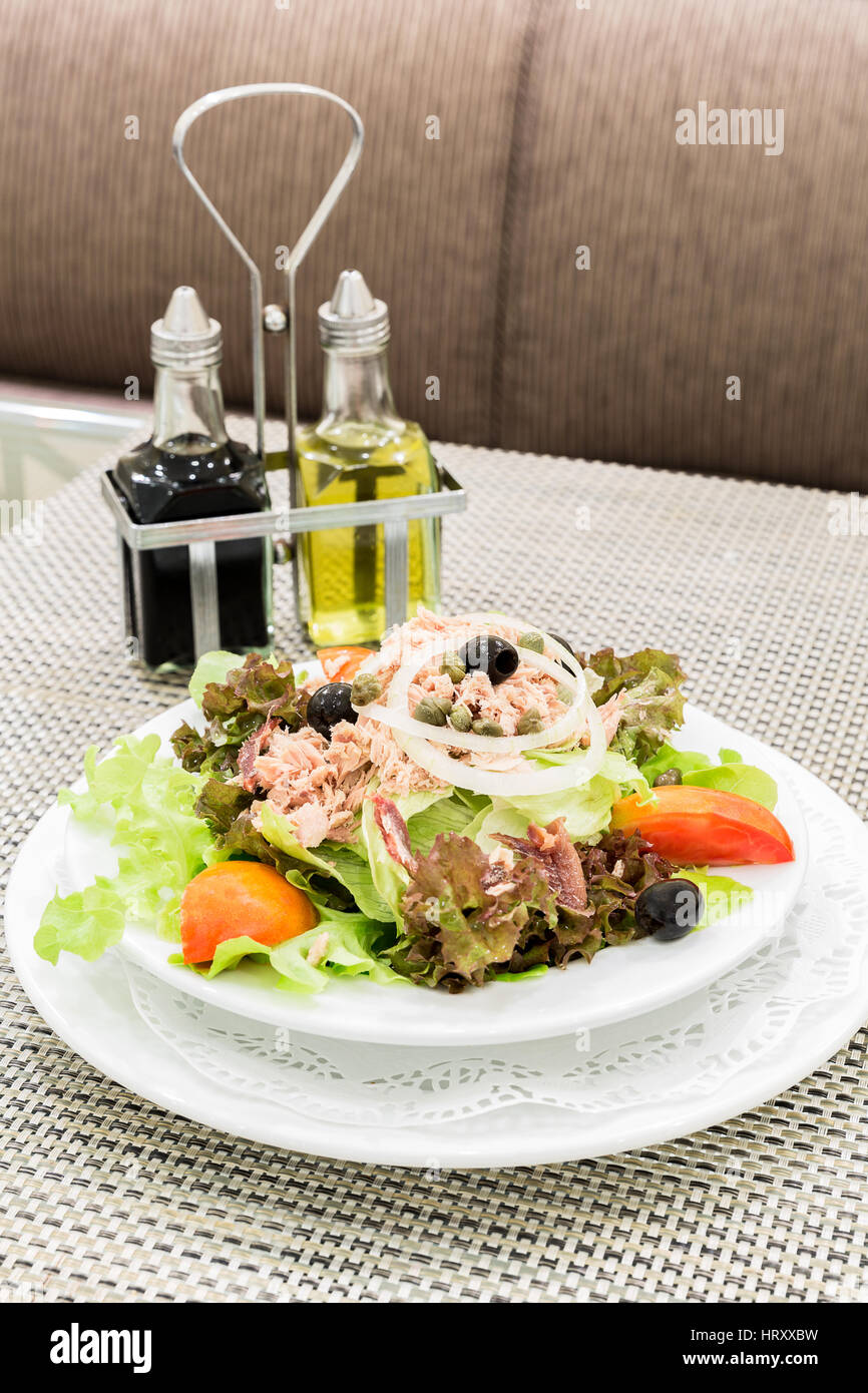 Tuna salad with fresh vegetable, mediterranean cuisine - Stock Image