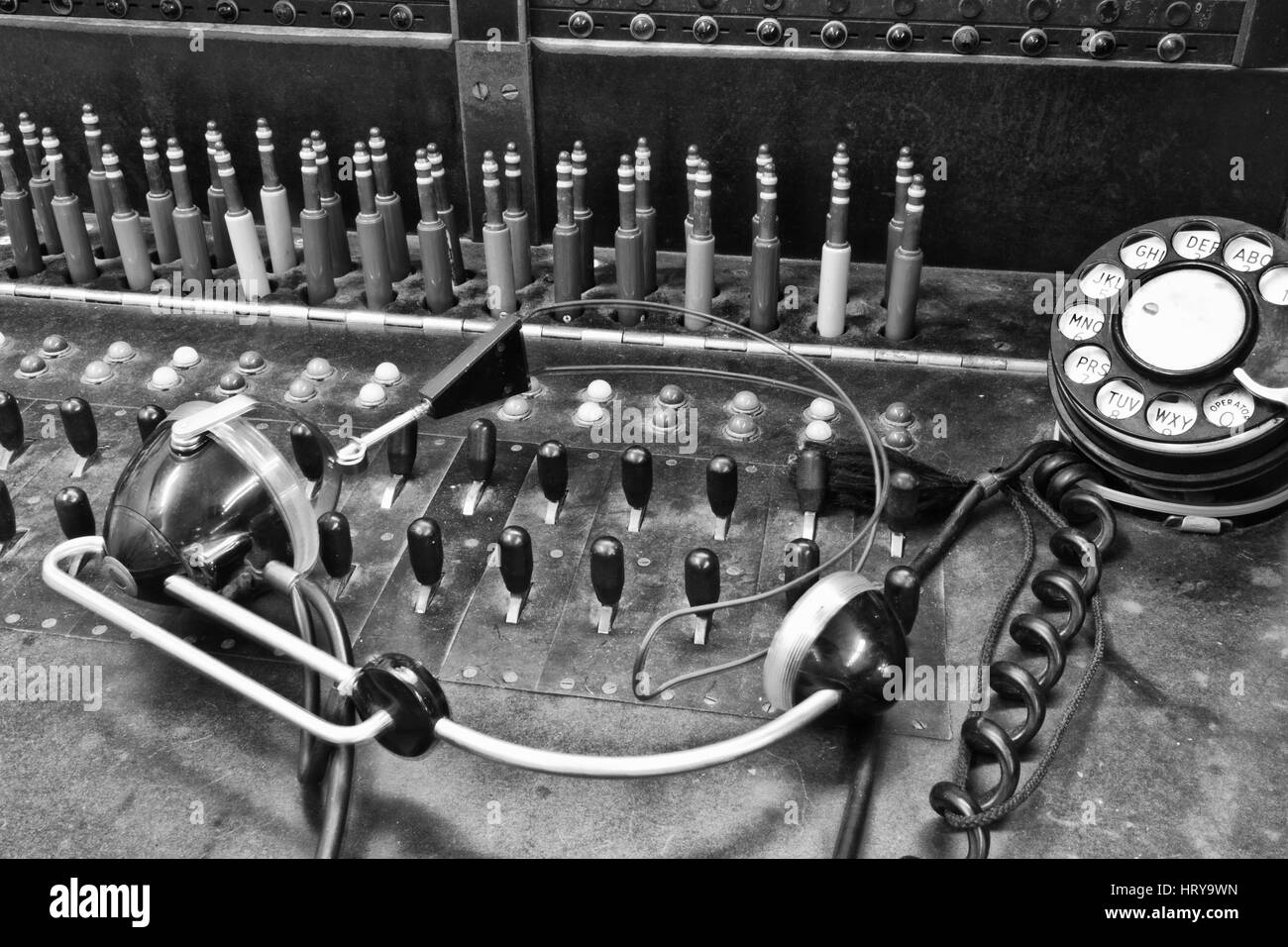 Closeup of a Vintage Bell System Telephone Switchboard with Plugs IV - Stock Image