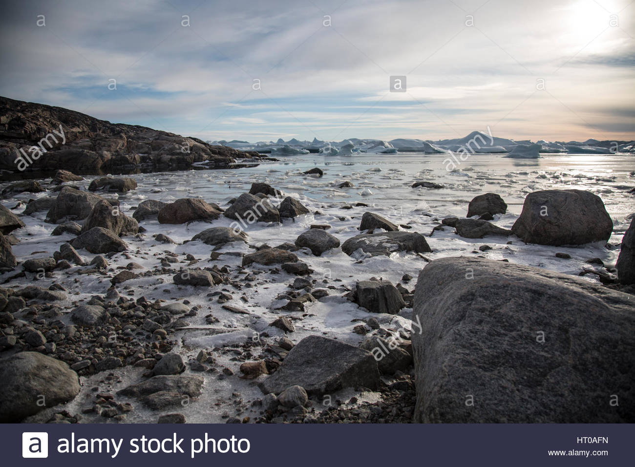 Greenland Ice fjord Beach Nearing Twighlight Stock Photo