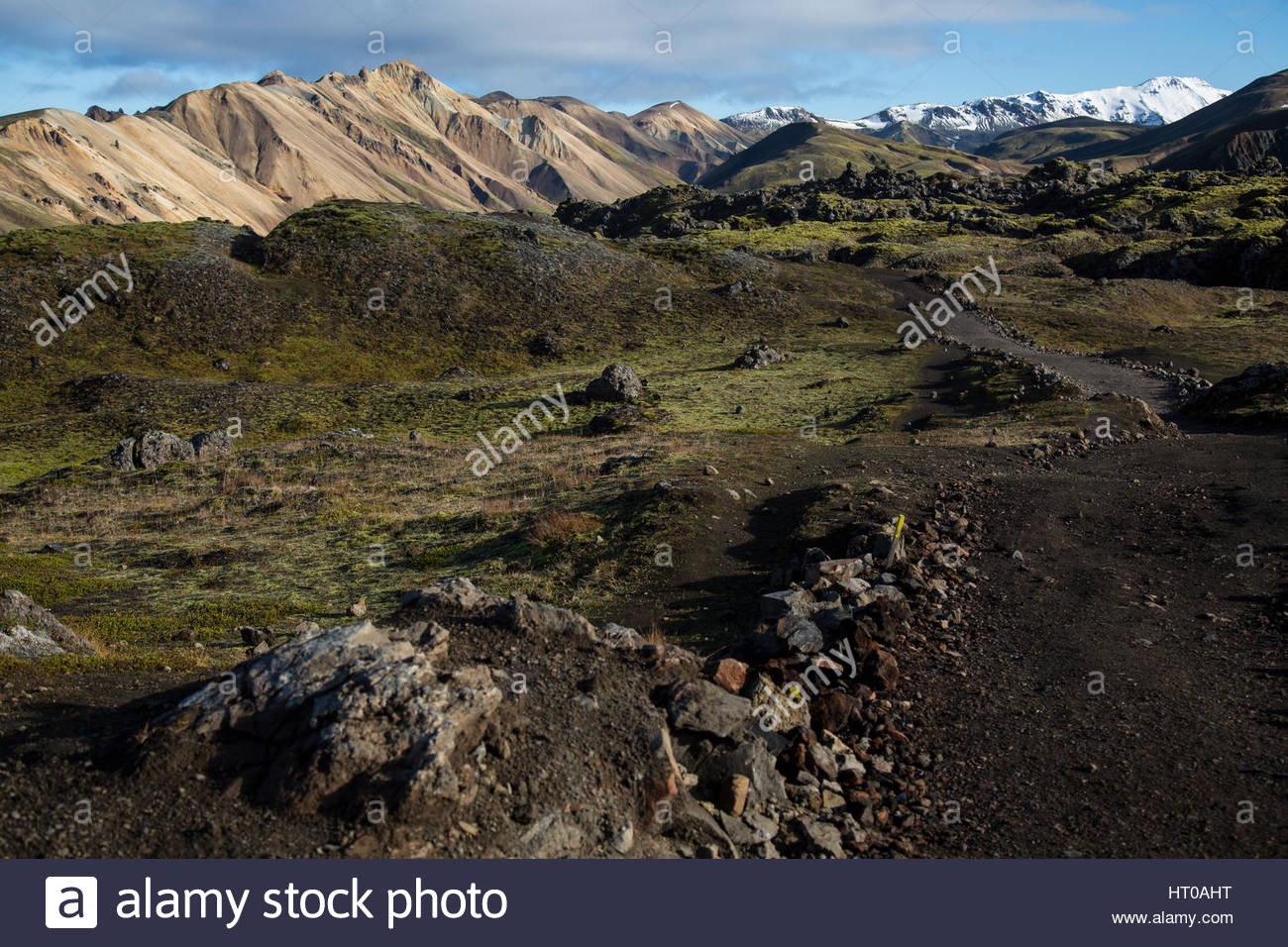 Iceland Highlands Snow Mountains and Moss Stock Photo