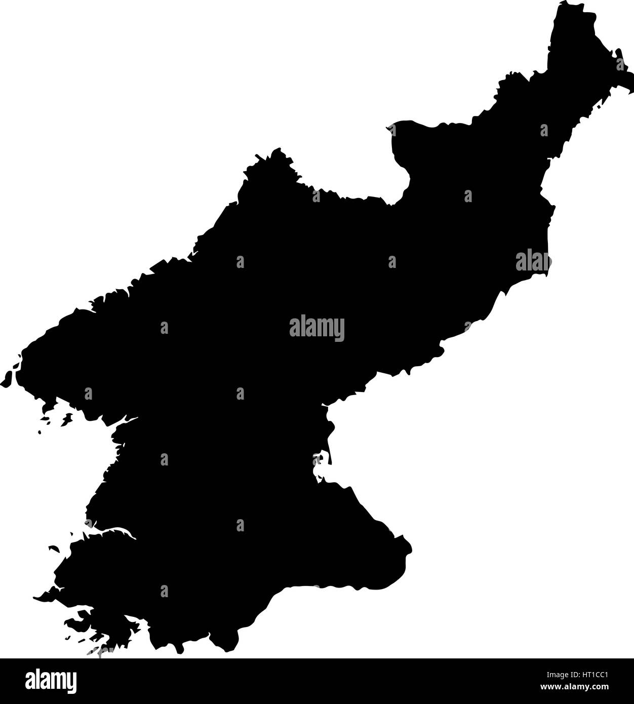 Black map of North Korea on a white background Stock Vector Art ...