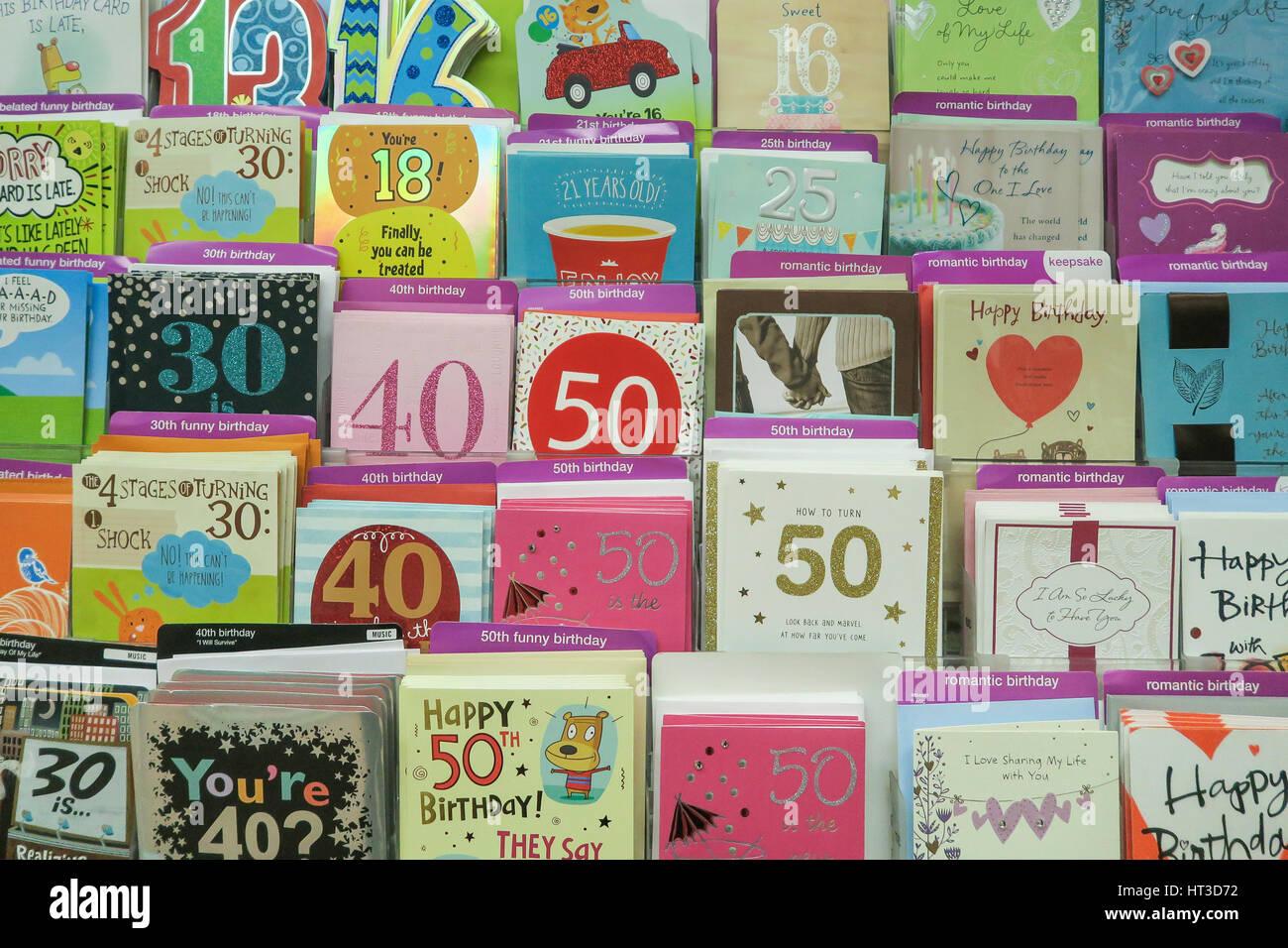 milestone birthday cards at kmart nyc usa stock photo 135300566