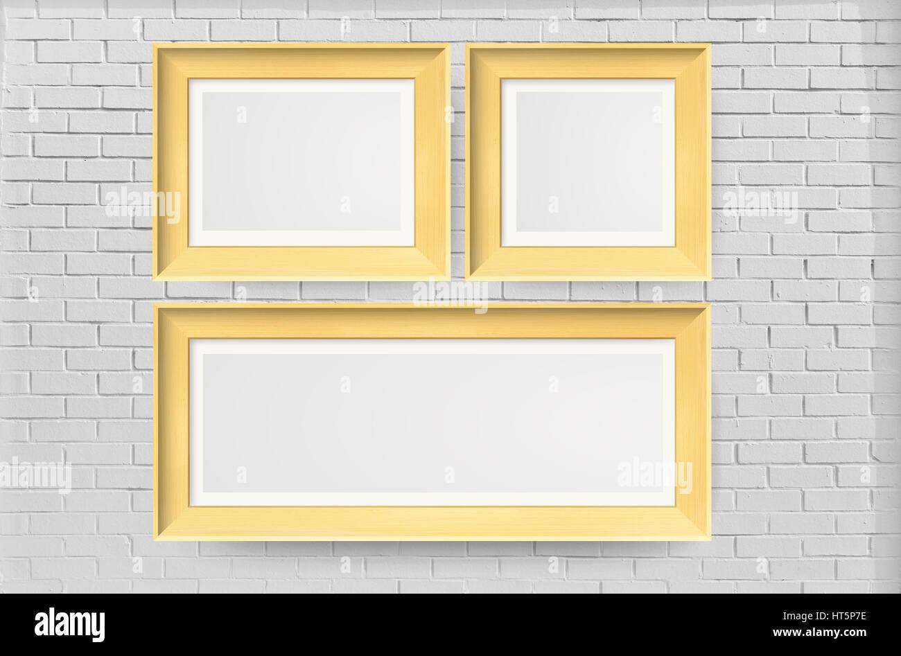 Photo Frames on white bricks wall - Indoors, Vehicle Interior, Wall ...