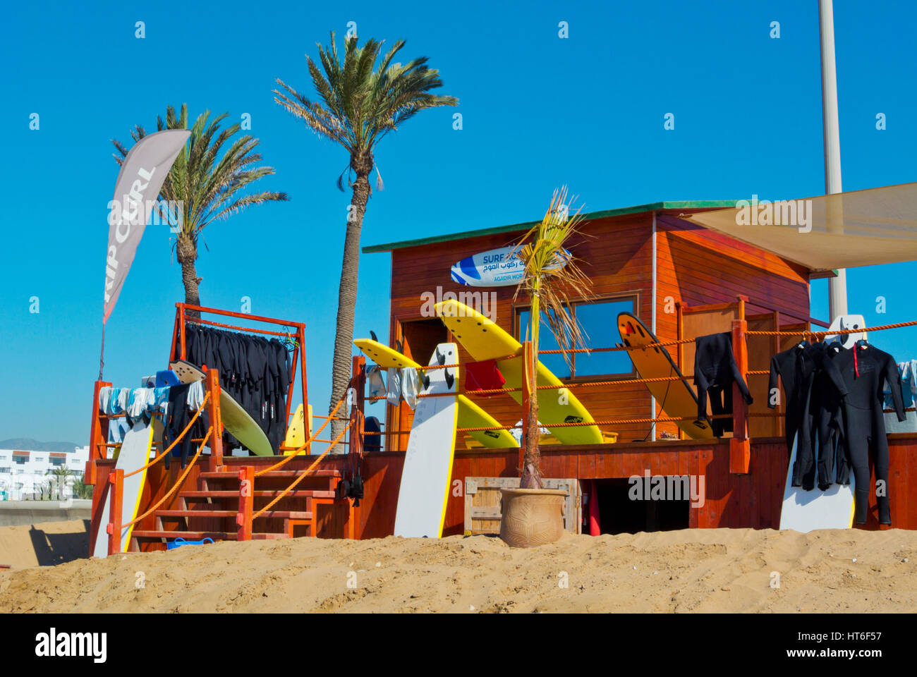 Surf Agadir, surfing school and rental place, beach, Agadir, Morocco - Stock Image
