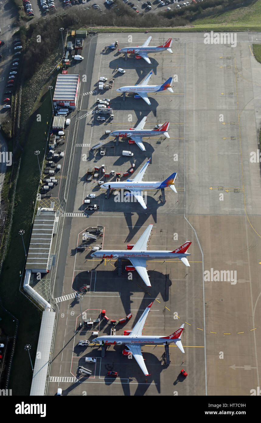 aerial view of Jet2.com aircraft parked on the apron at Leeds Bradford Airport, West Yorkshire, UK - Stock Image
