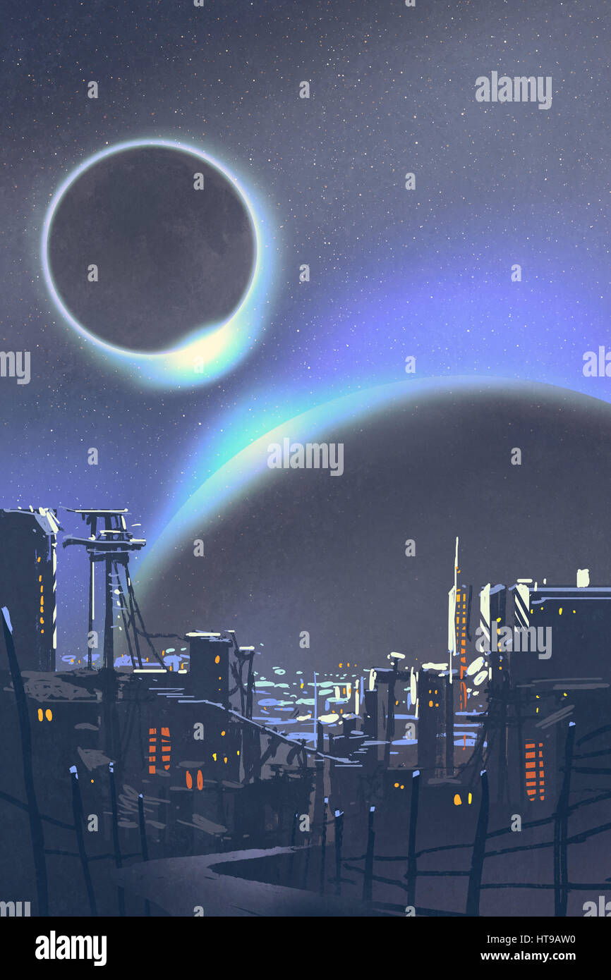 illustration of the futuristic city with planets and solar eclipse on background,digital painting - Stock Image