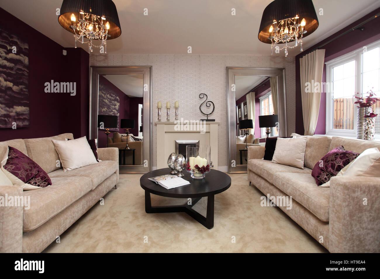 Home Interior Lounge Living Room Purple Decor Purple Feature Stock Photo 135433148 Alamy