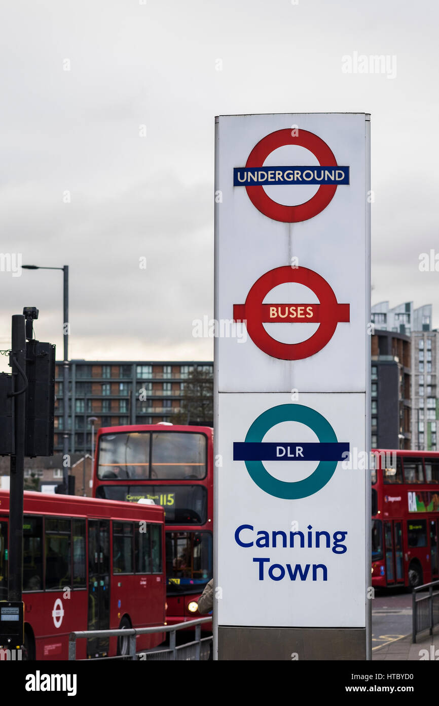 Canning Town Bus Station & Interchange Hub, Canning Town, London, England, U.K. Stock Photo