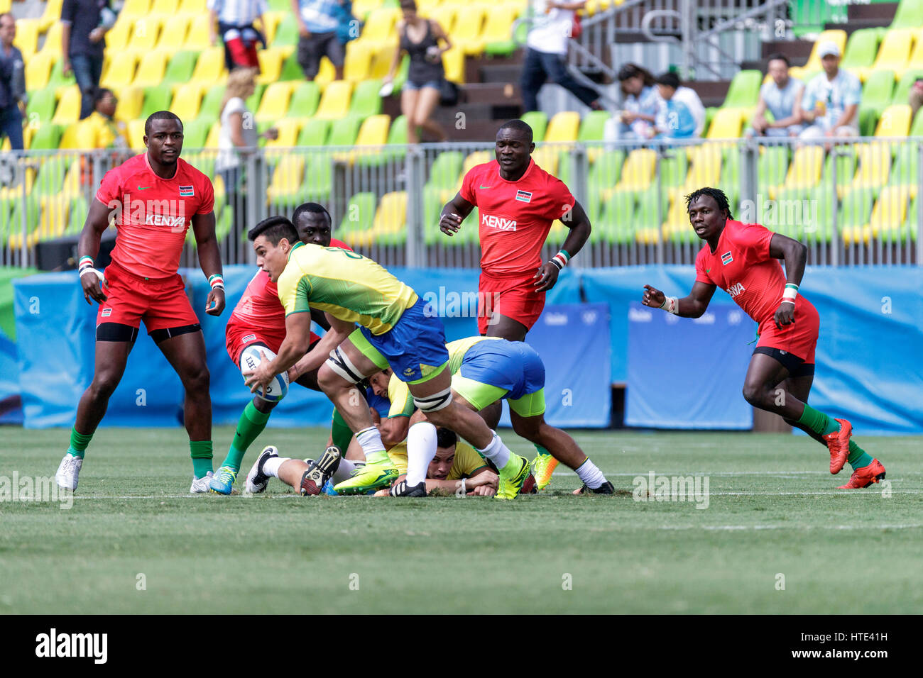 Rio de Janeiro, Brazil. 11 August 2016 Felipe Sancery (BRA) competes in the Men's  Rugby Sevens in a match vs. - Stock Image