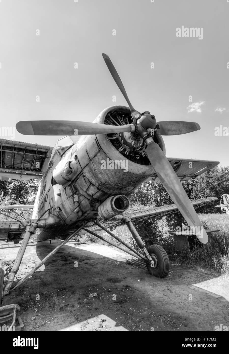 SAMARA, RUSSIA - MAY 22, 2015: The Antonov An-2 a Soviet mass-produced single-engine biplane at an abandoned aerodrome - Stock Image