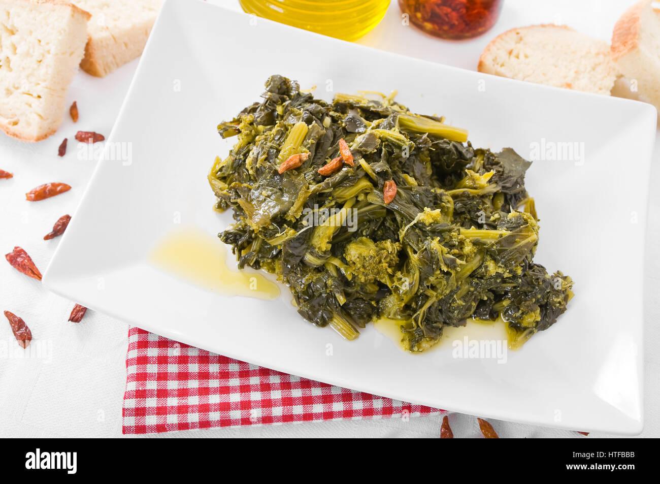 Stewed turnip greens. - Stock Image