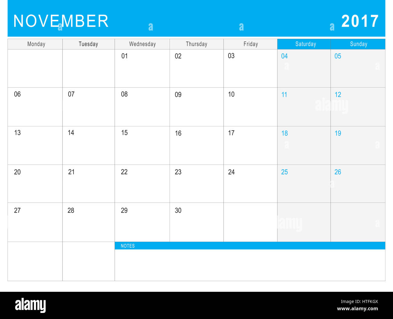 2017 november calendar or desk planner with notes stock photo