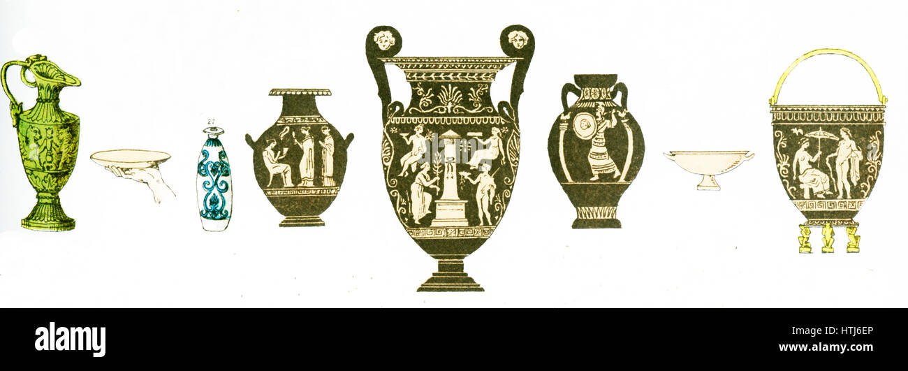 The illustration here shows ancient Greek vases.The illustration dates to 1882. - Stock Image
