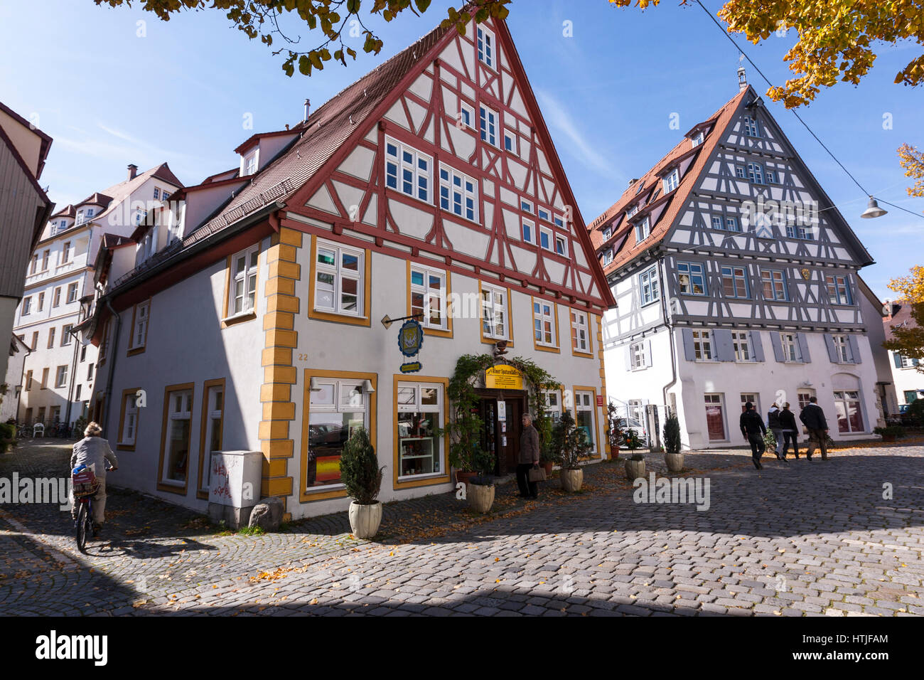 Fischerviertel, The Fishermen's and Tanners' quarter in Ulm, Baden-Württemberg, Germany Stock Photo