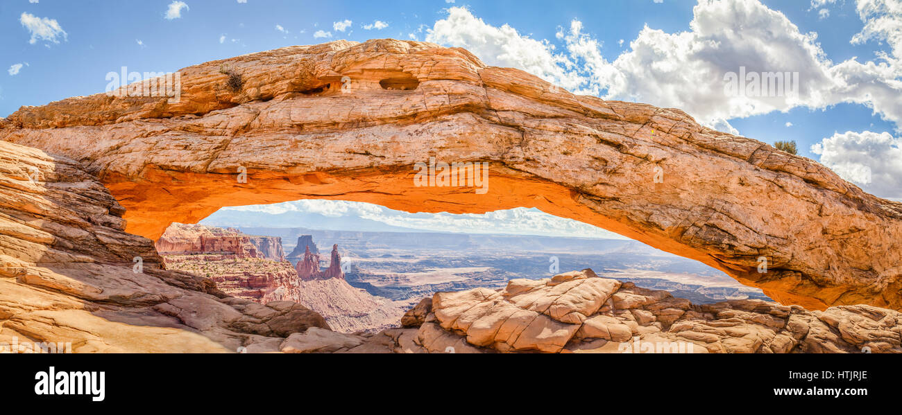 Panoramic View Of Famous Mesa Arch Iconic Symbol Of The American
