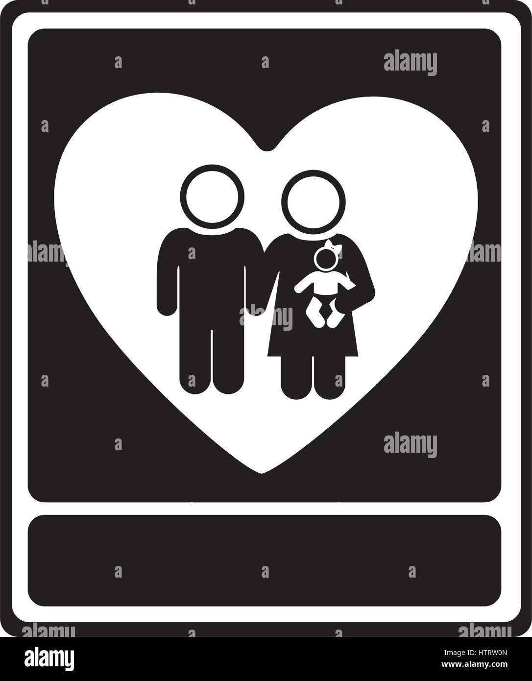 Monochrome Portrait Of Family Unity Stock Vector Art Illustration