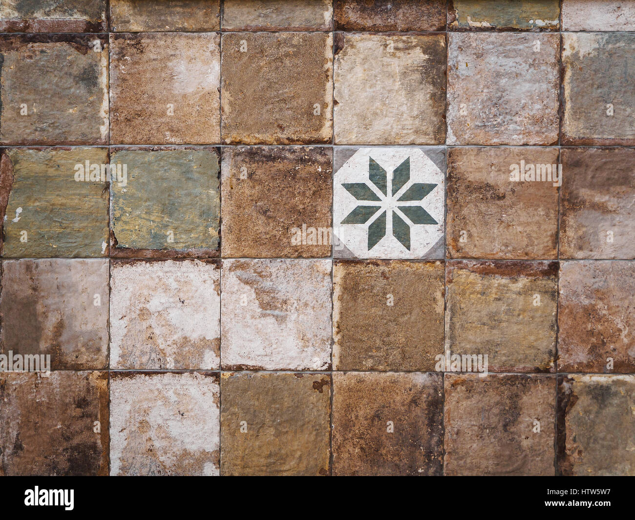 Colorful vintage ceramic tiles wall decoration Stock Photo ...