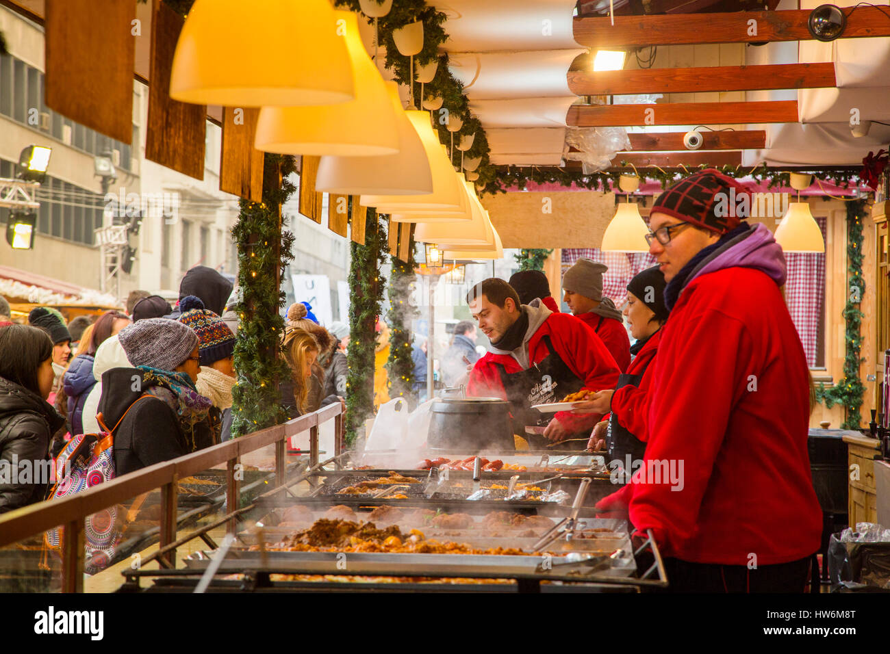Food in the open air food stalls. Christmas Market. Budapest Hungary, Southeast Europe Stock Photo