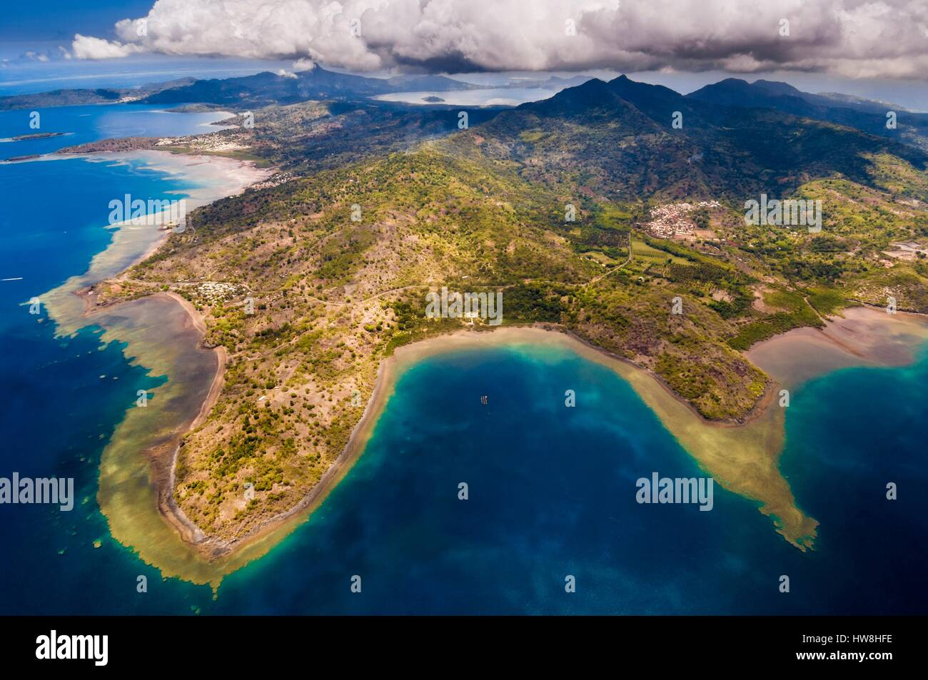 France, Mayotte island (French overseas department), Grande Terre, Hamouro, aerial view South Island (aerial view)Stock Photo
