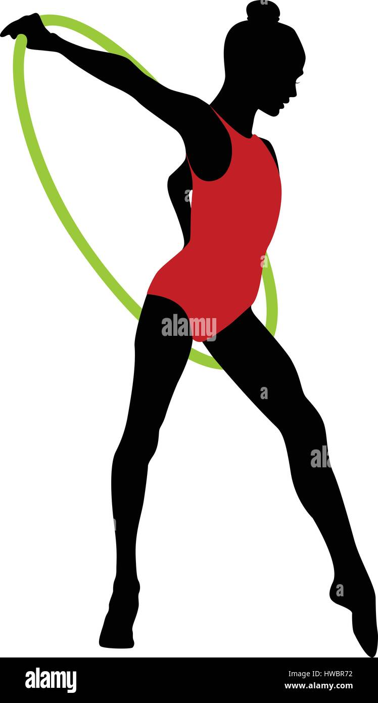 young girl gymnast hoop in rhythmic gymnastics color silhouette ...