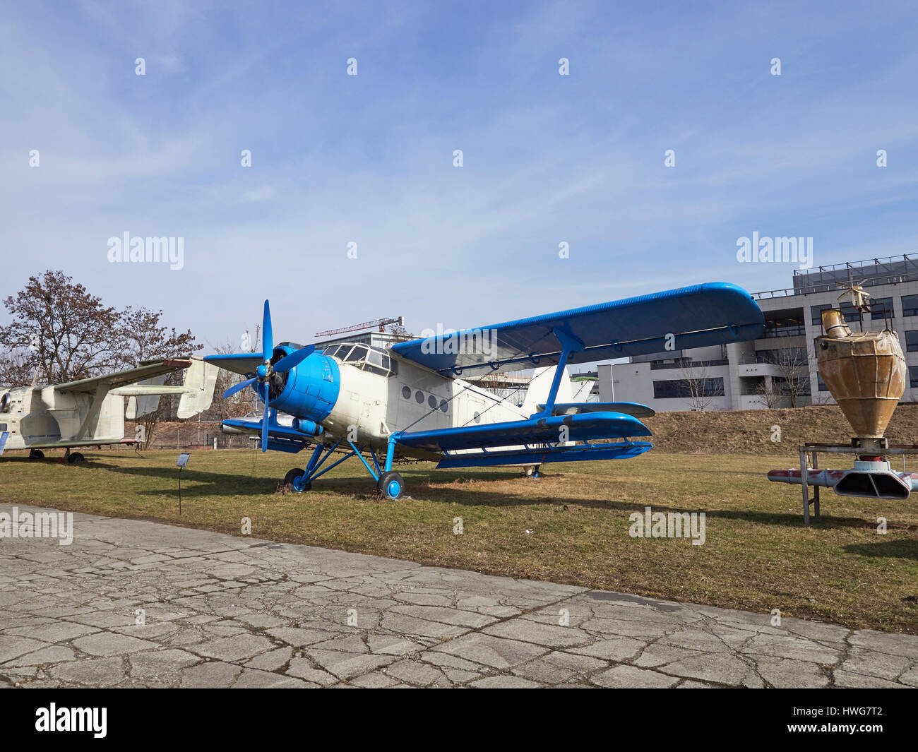 Polish built PZL-Mielec An-2 or Antonov An-2 'Colt' crop duster at the Krakow Aviation museum in Poland - Stock Image