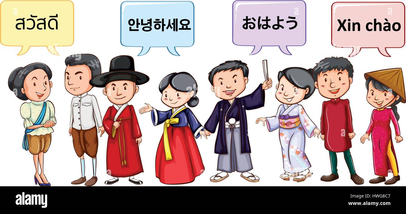 Asian people greeting in different languages illustration stock asian people greeting in different languages illustration m4hsunfo