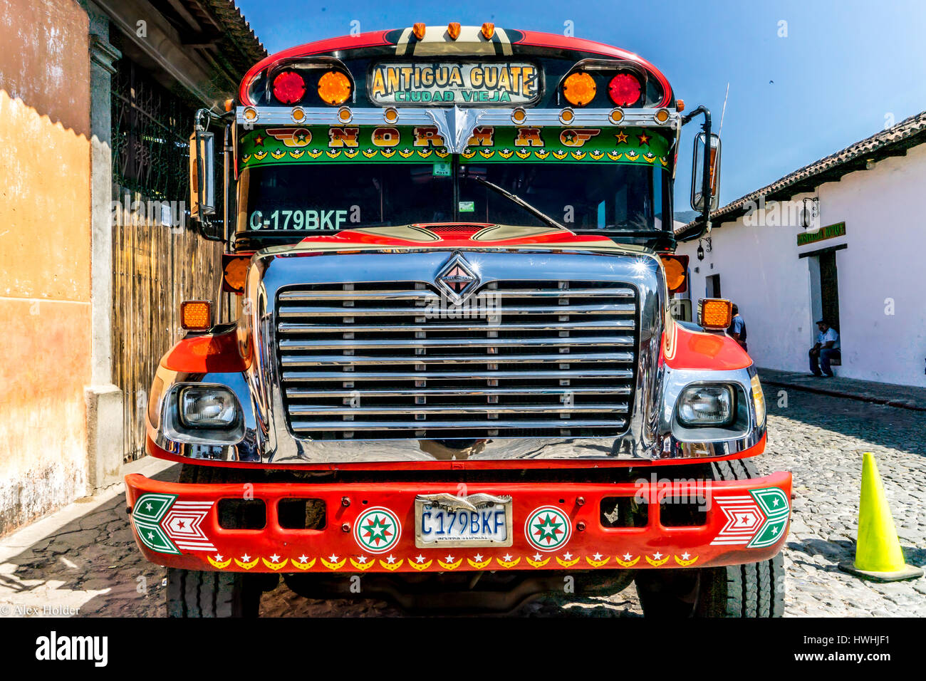Antigua, Guatemala bus parked outside the old town during the Easter Week celebrations Stock Photo