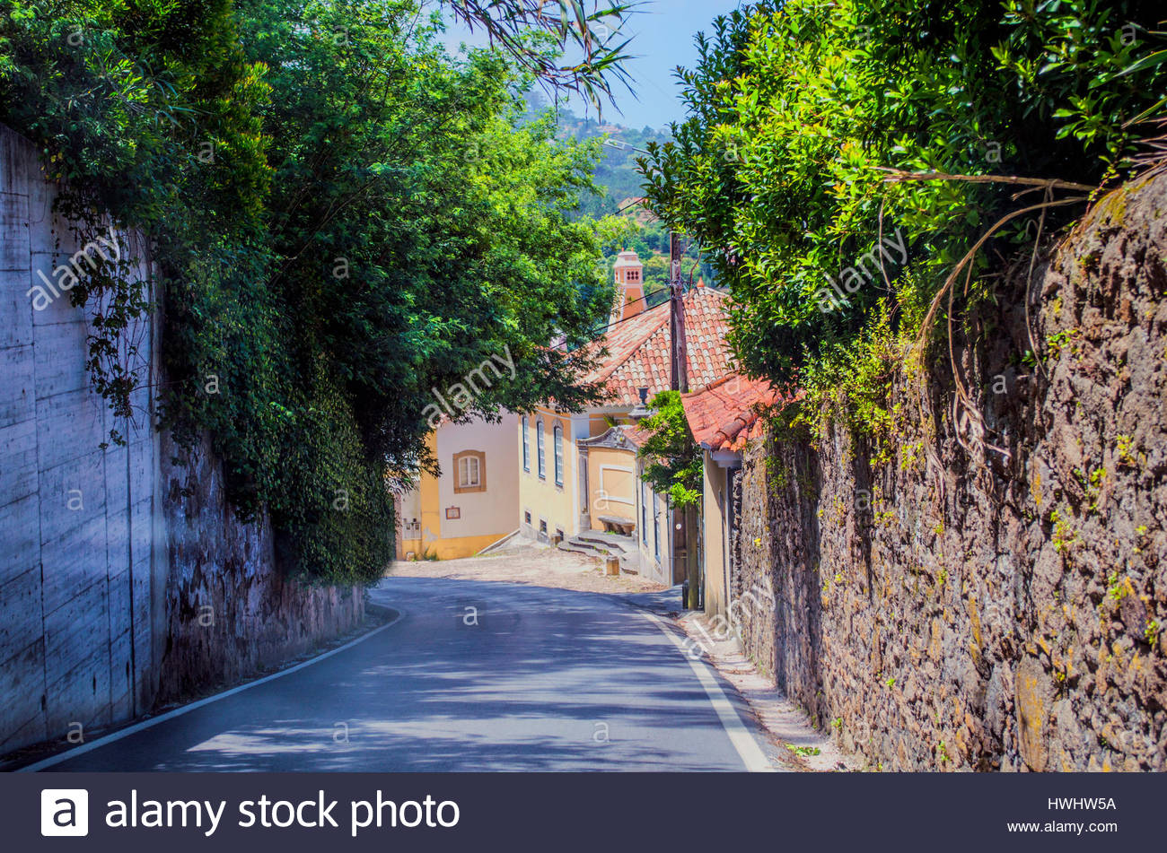 Extemely narrow roads with high stone-walls on both sides climbing up and going dow-hill in the lush area of Sintra. - Stock Image