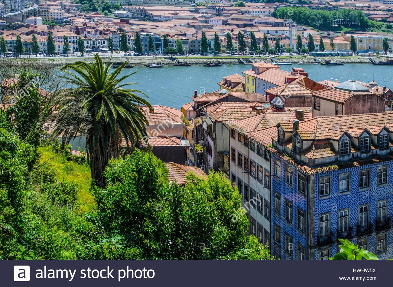Douro river through Porto. in Portugal - Stock Image