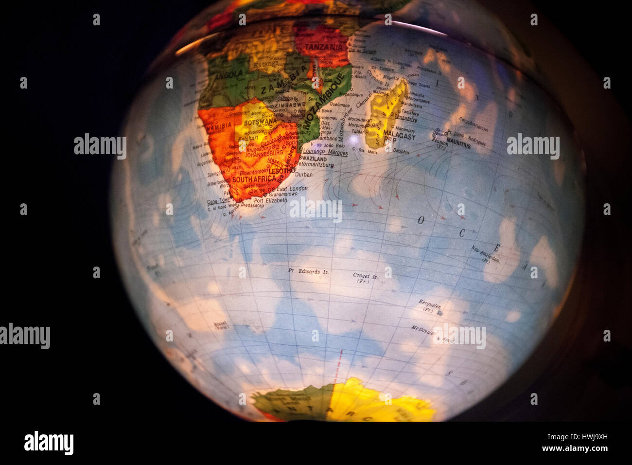 Close up of old fashioned world globe a ball shaped map lit from close up of old fashioned world globe a ball shaped map lit from within focusing on europe south africa and asia gumiabroncs Images