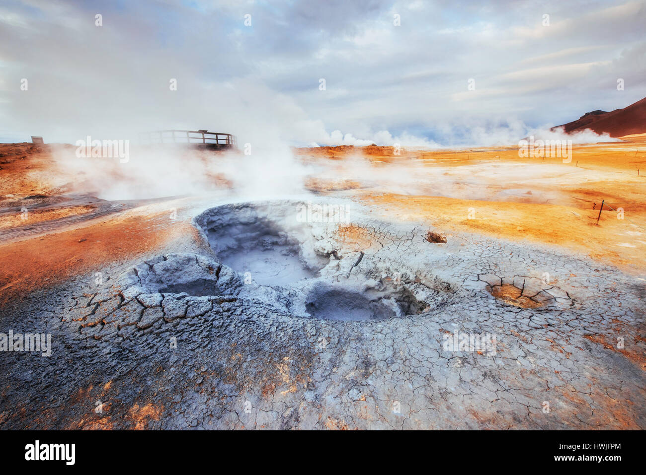Fumarole field in Namafjall Iceland. Beauty world - Stock Image