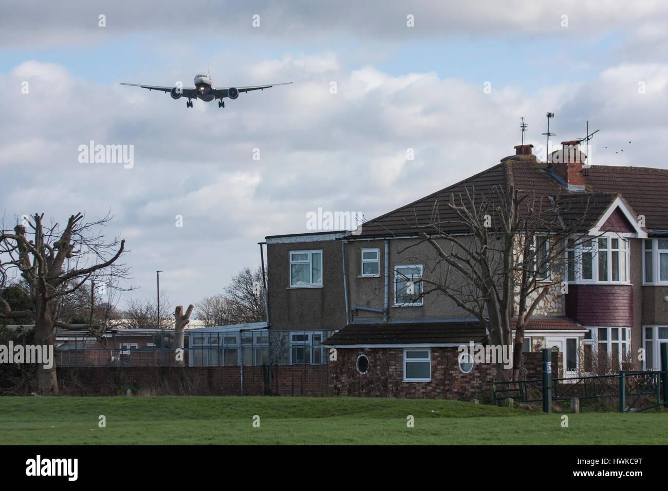 British Airways plane approaching London Heathrow Airport, UK - Stock Image