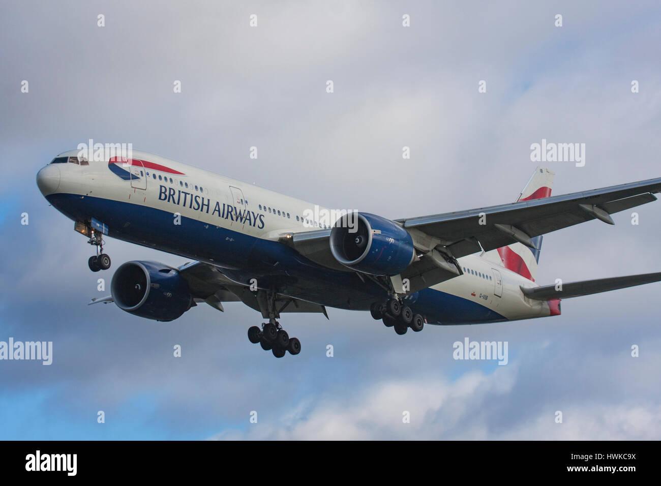 British Airways Boeing 777-236/ER landing at London Heathrow Airport, UK - Stock Image