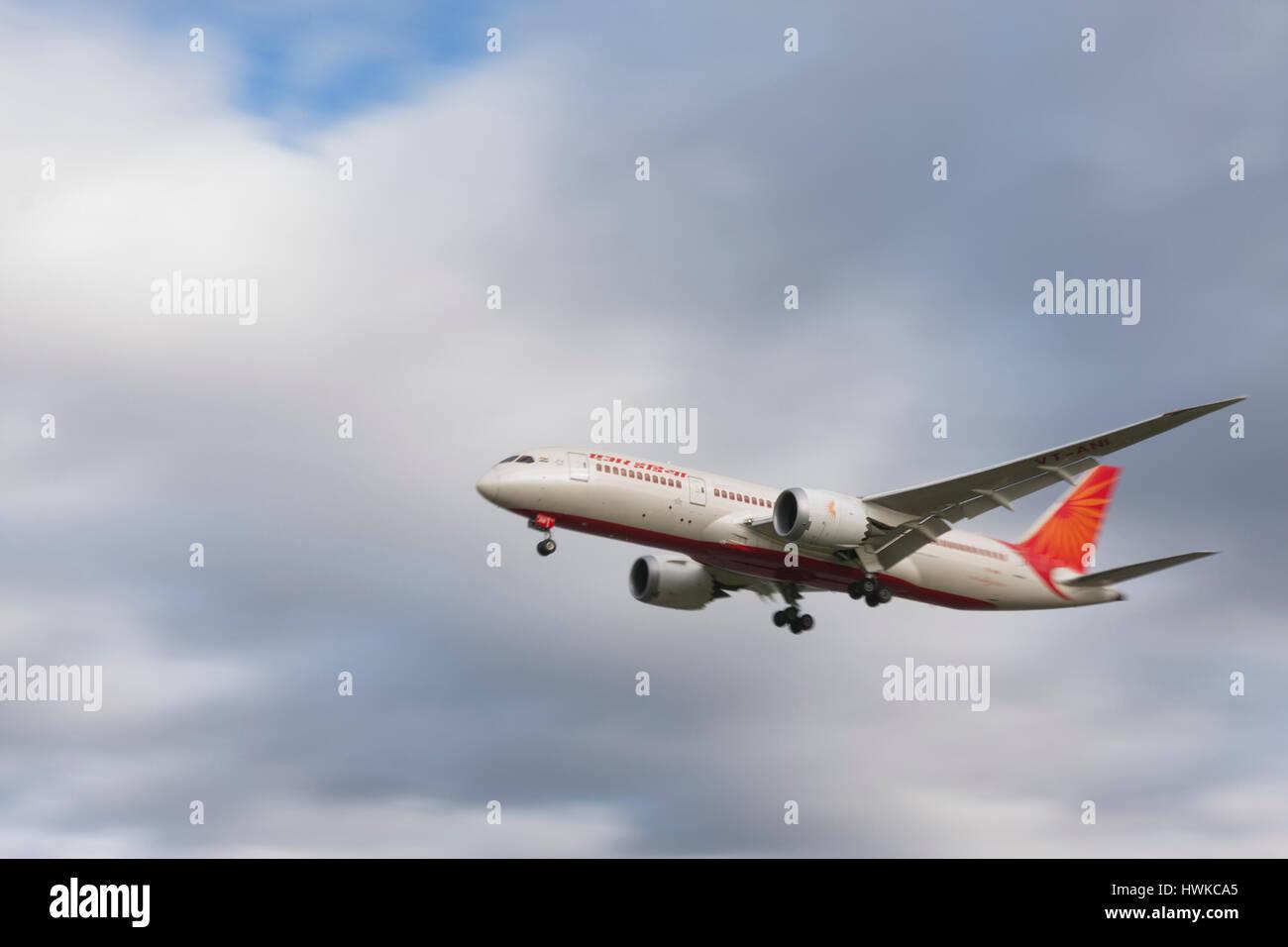 Air India Boeing 787-8 Dreamliner landing at London Heathrow Airport, UK - Stock Image