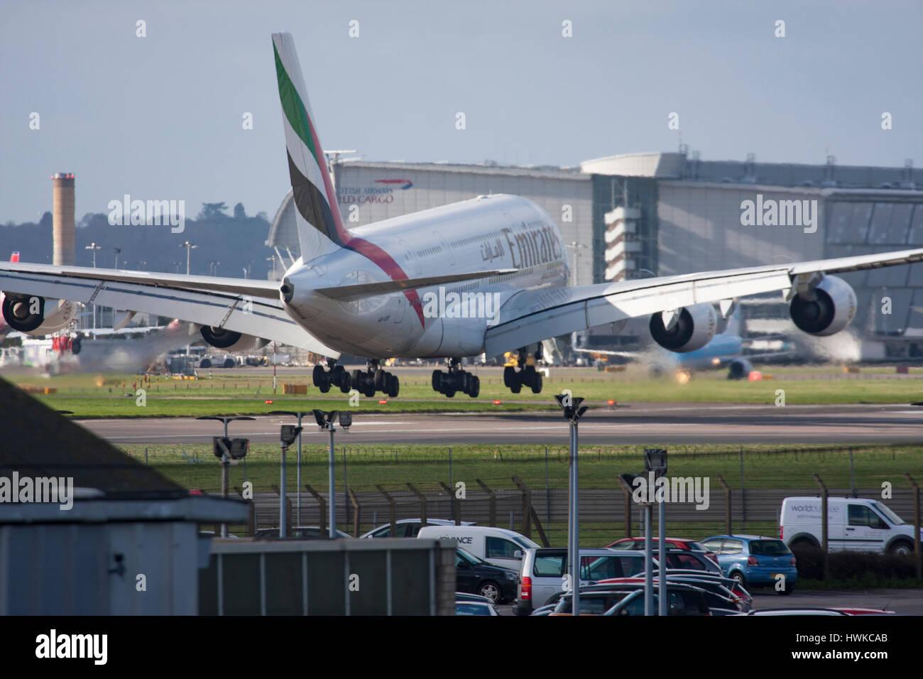 Emirates Airbus A380-861 landing at London Heathrow Airport, UK - Stock Image